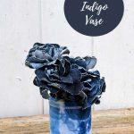 upcycled shibori indigo vase