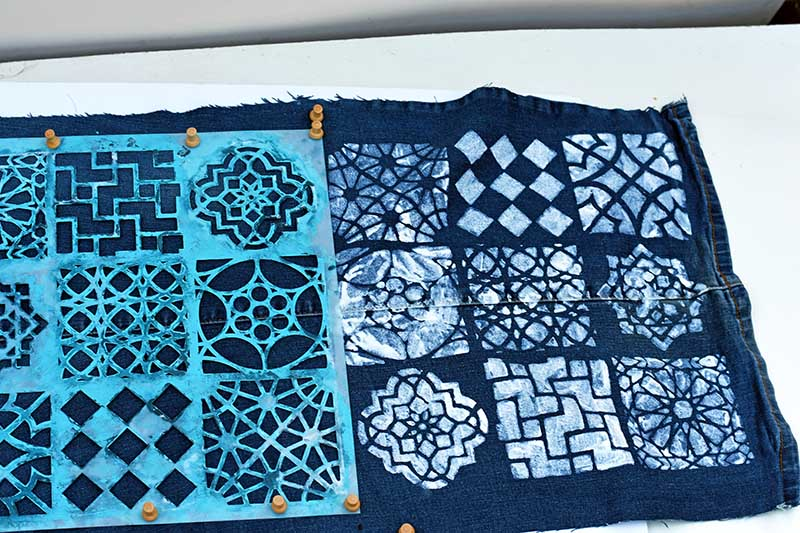 stenciling the denim table runner