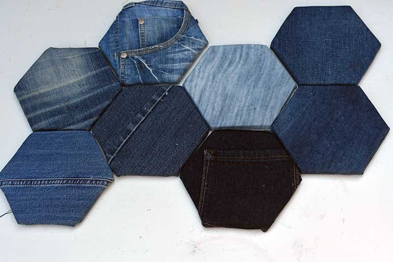 Denim covered hexagons for a DIY fabric bulletin board