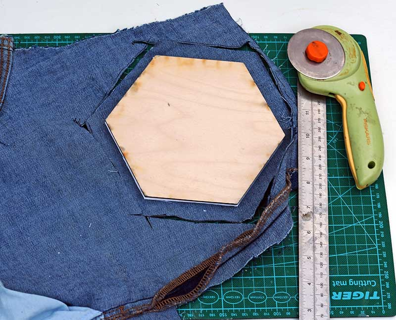 cutting denim hexagons