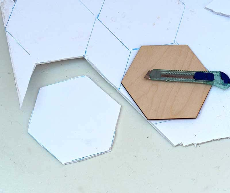 cutting the foam hexagons