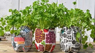 Marimekko repurposed plastic bottle planters