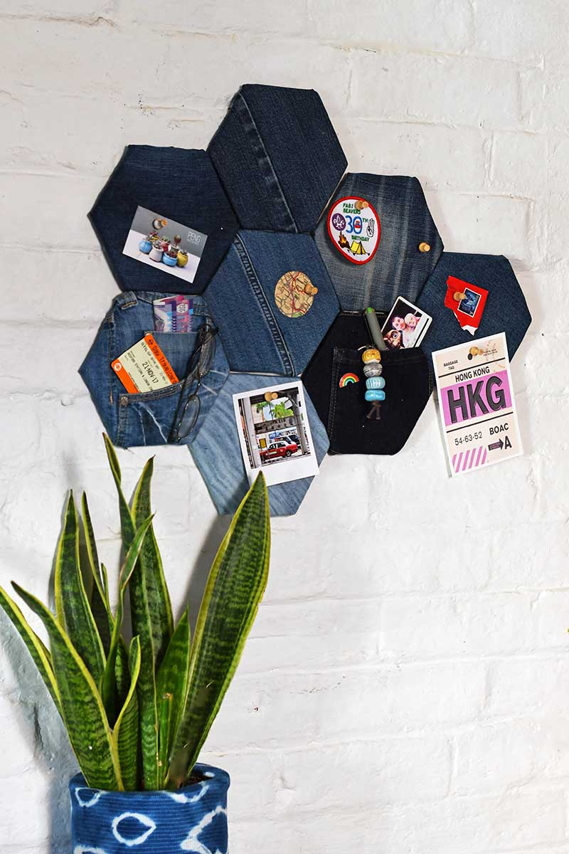 Denim fabric pin board
