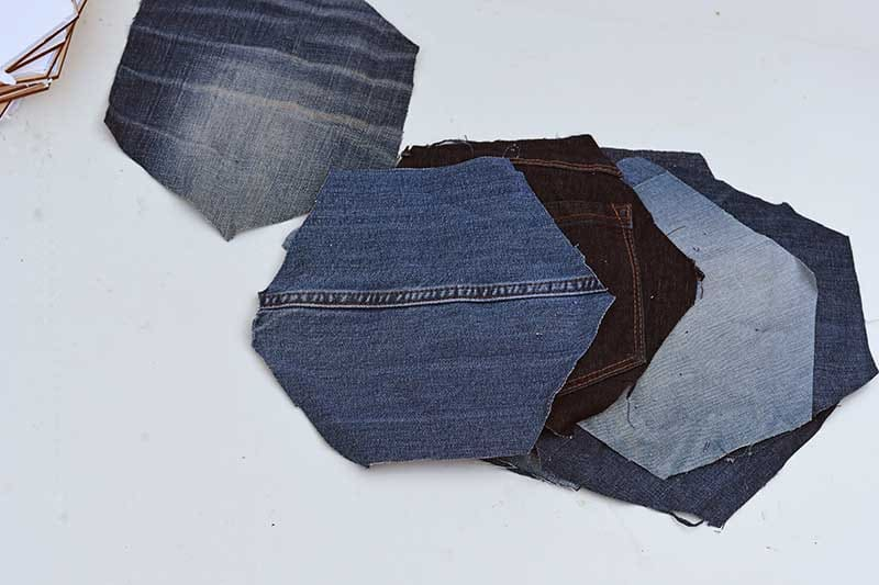 Denim hexagons for DIY fabric pin board