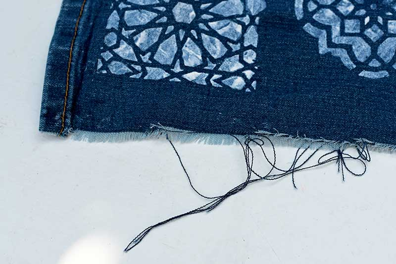 Fraying the edges of the denim