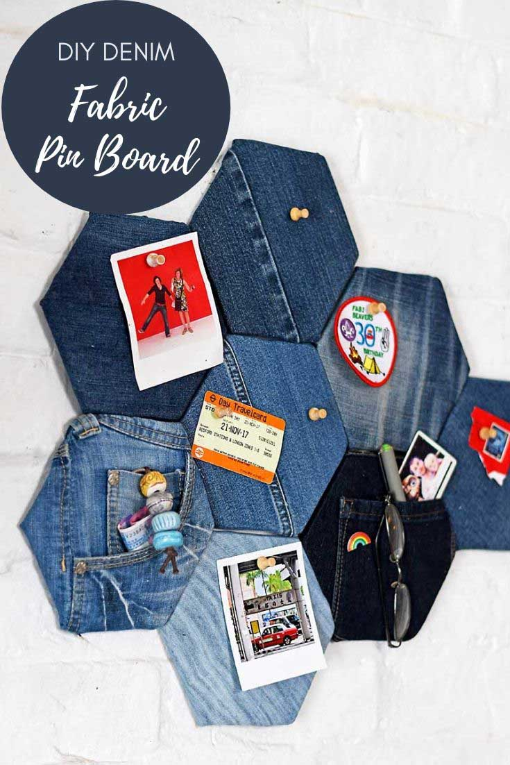 how to make a denim fabric bulletin board