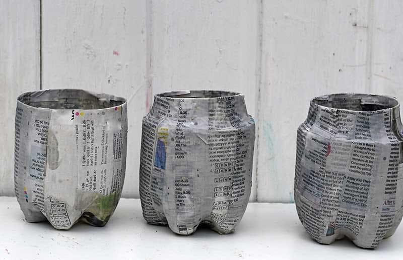 paper mache 3 bottle planters