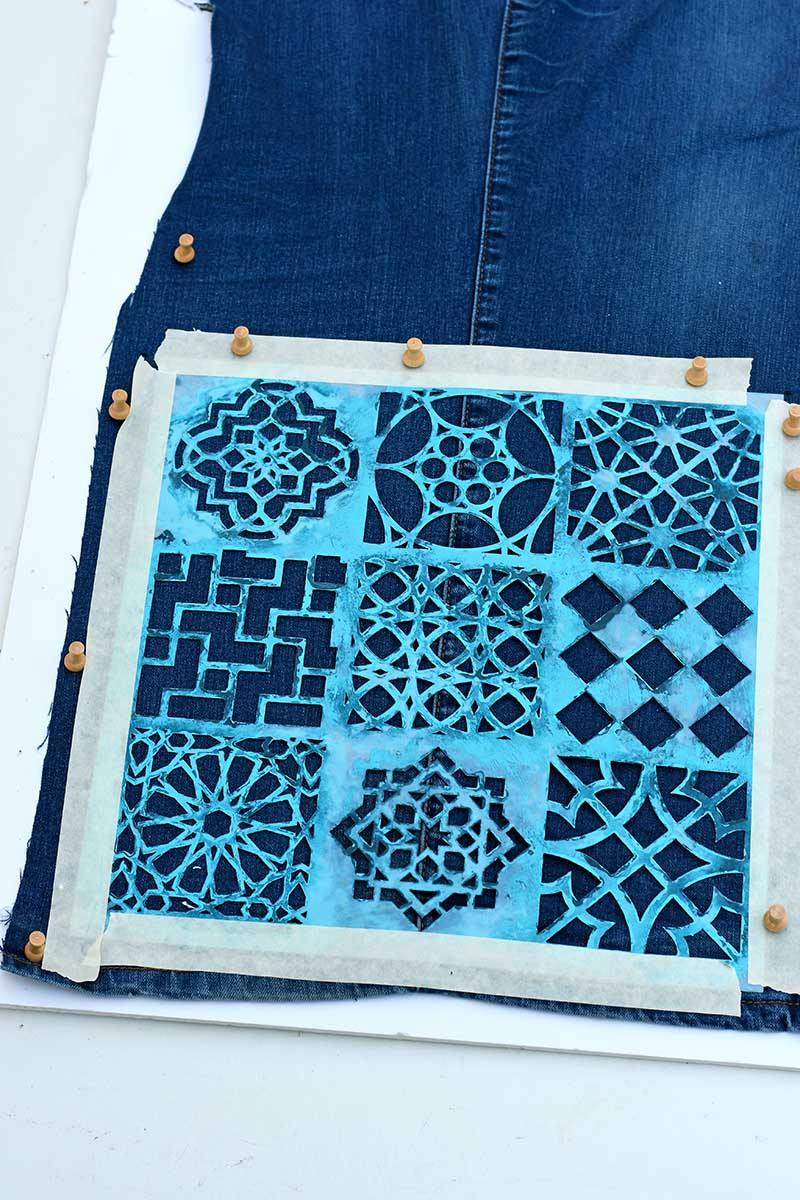 pinning stencil to denim table runner
