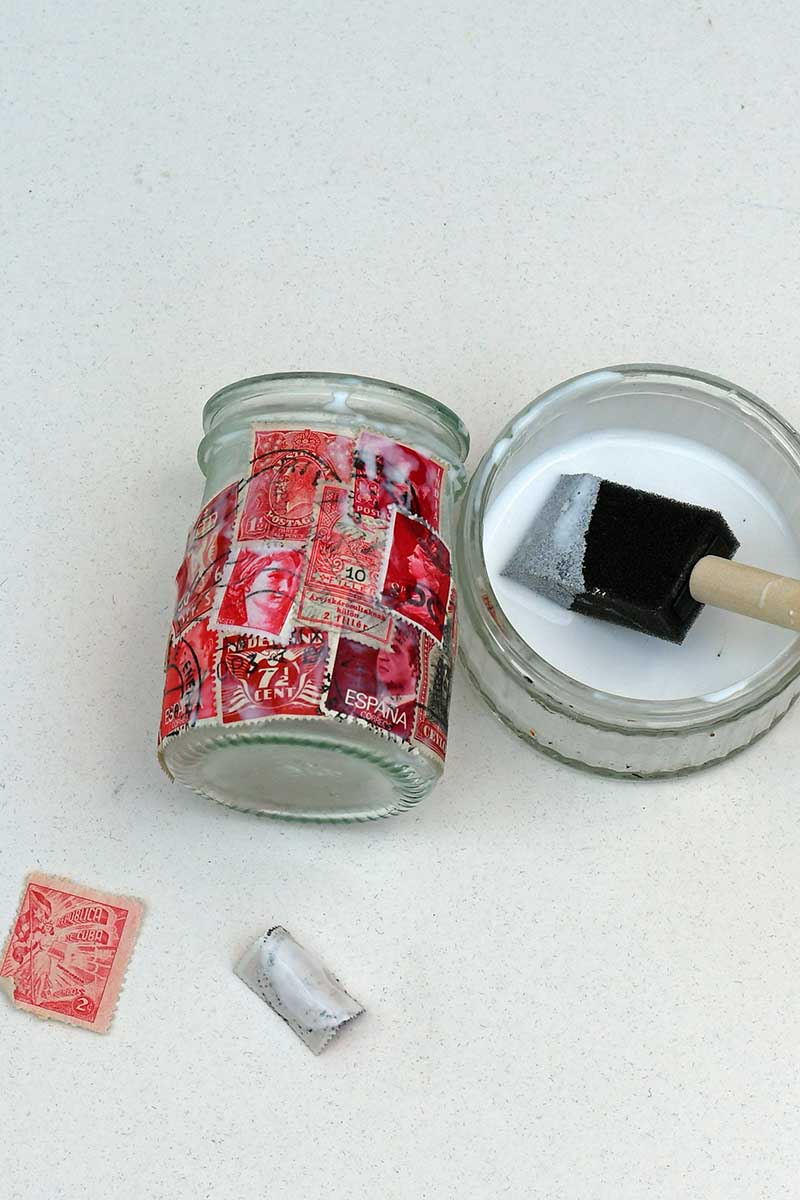 Postage stamp decoupage jar