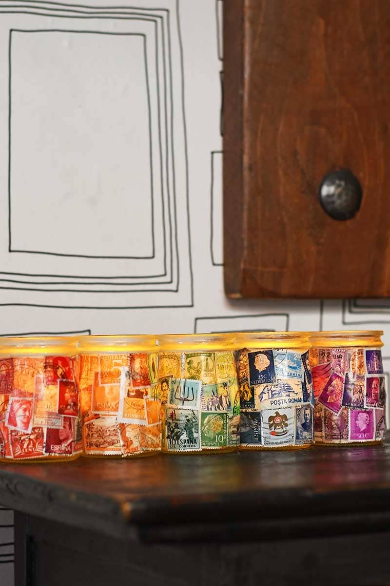 Rainbow decoupage candles