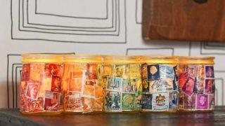 Postage Stamp Decoupage Jar tea lights