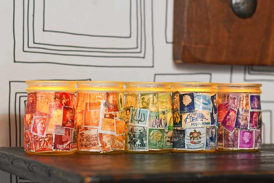 Postage Stamp Decoupage Jar tea lights