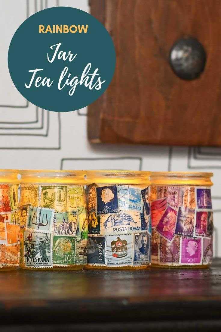 Postage stamp rainbow yogurt jar luminaries