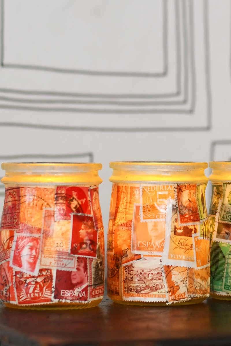 Postage Stamp Decoupage Jar Luminary