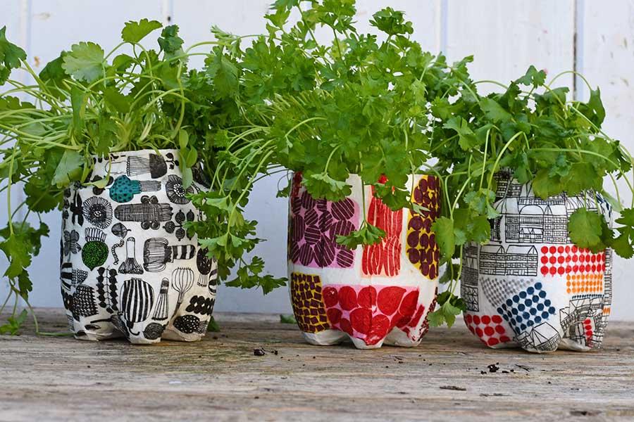 upcycled Marimekko plastic bottle planters