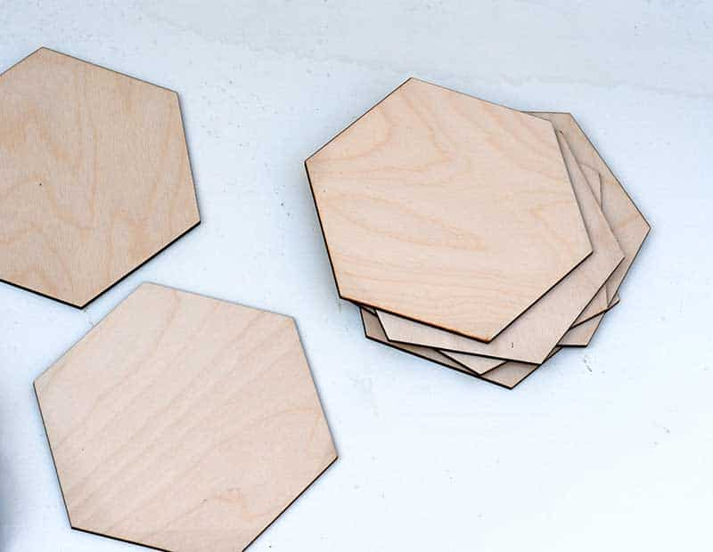 large wooden hexagons