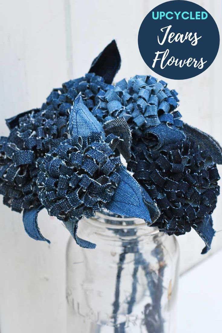 close up denim jeans flowers