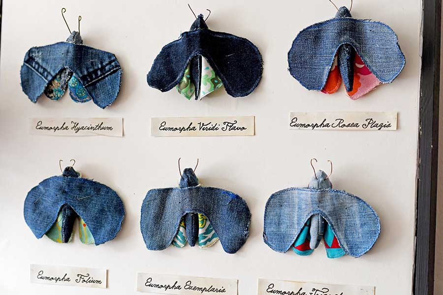 How to make a faux insect display of handmade upcycled fabric moths