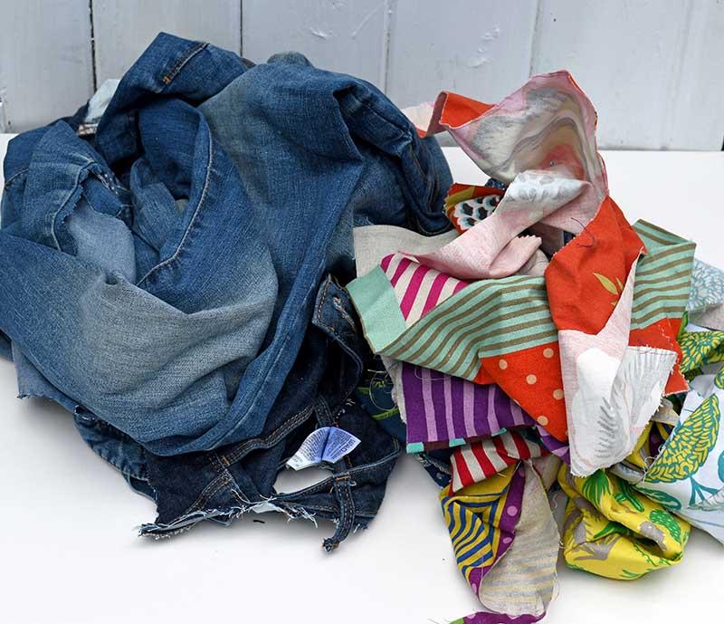 denim and fabric scraps