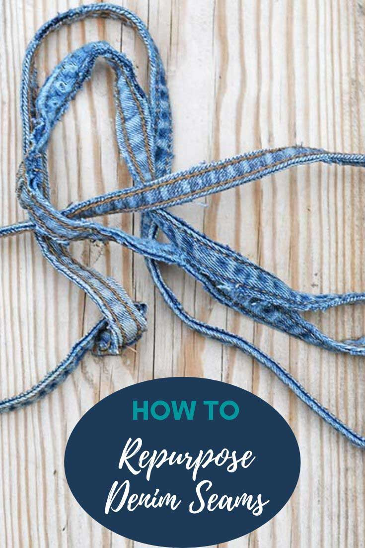 Crafting with old jeans seams, belt loops and hems
