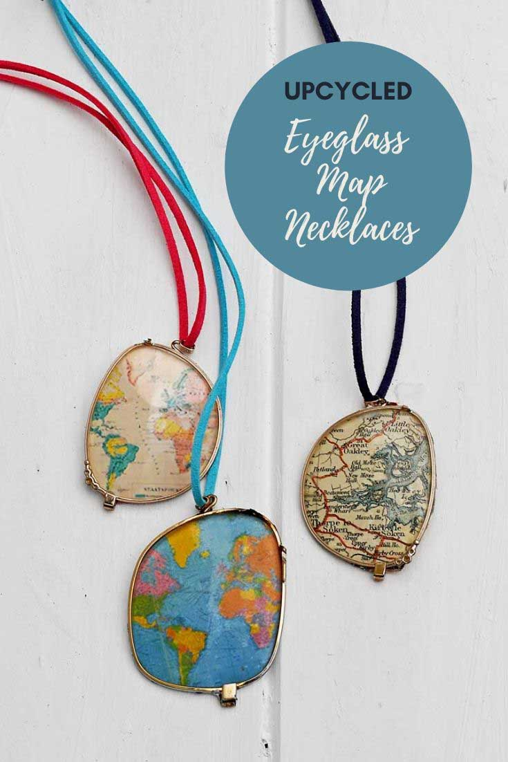 repruposed eyeglass world maps necklaces