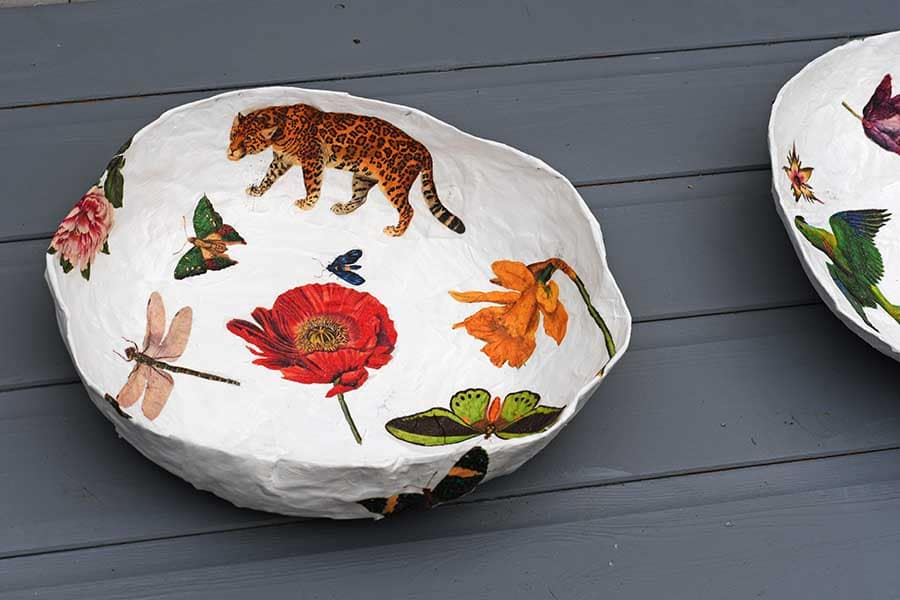 paper mache nature table bowl