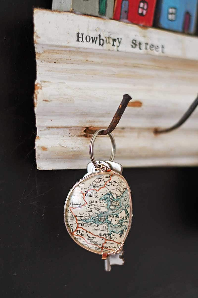 Upcycled map keychain
