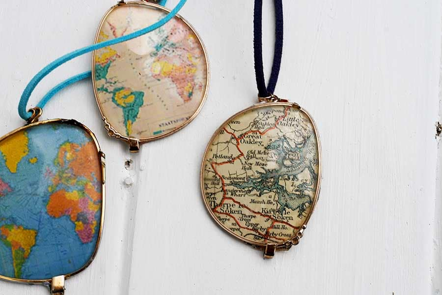 world map necklaces