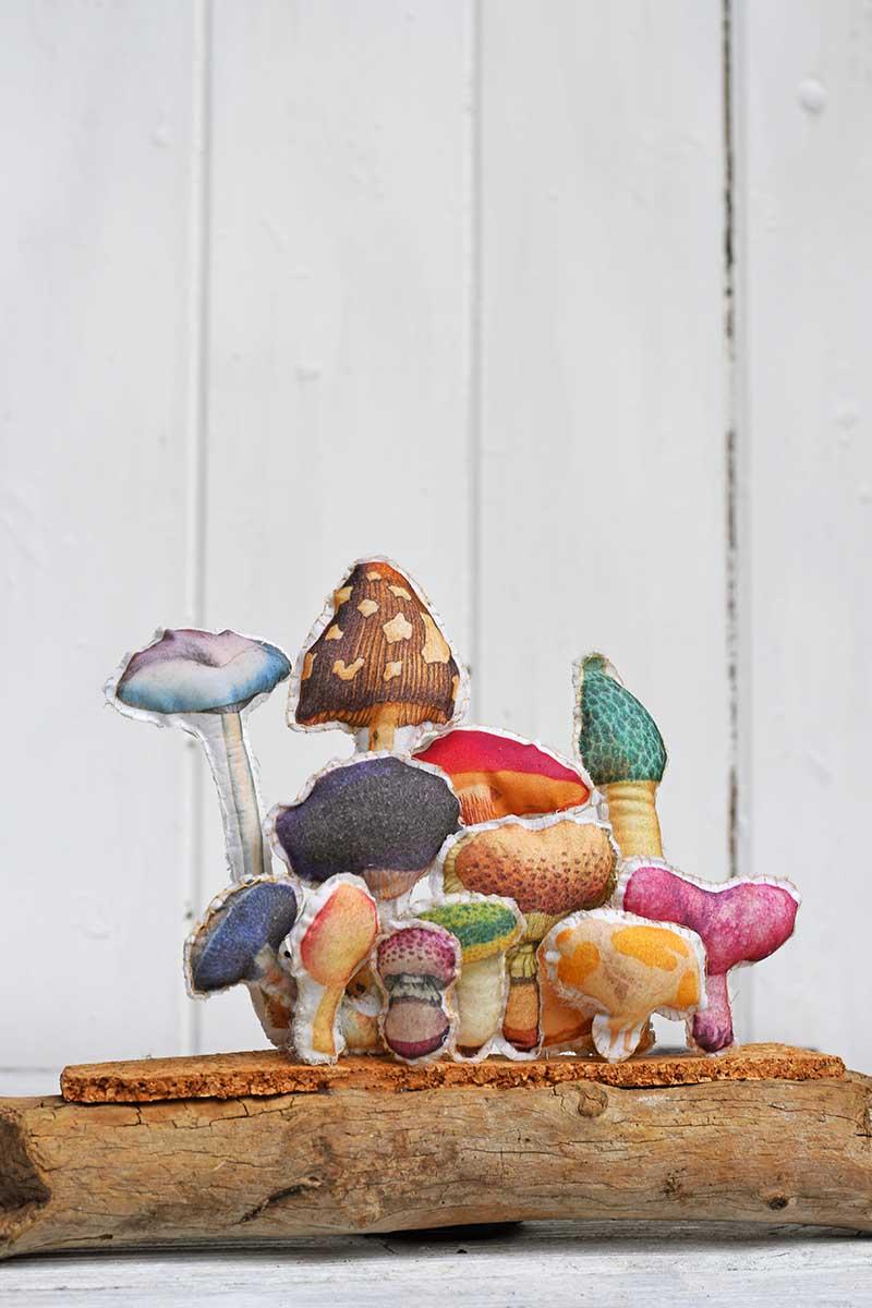 upcycled fabric mushroom art