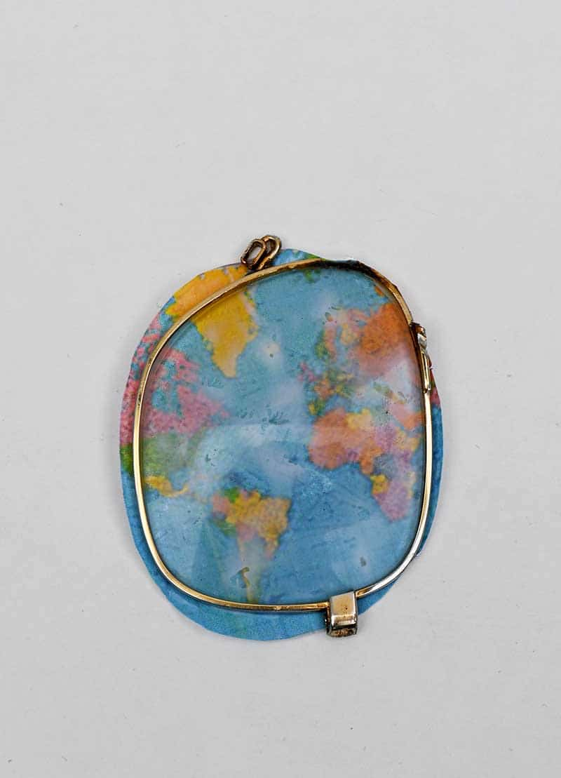 sticking world map to lens