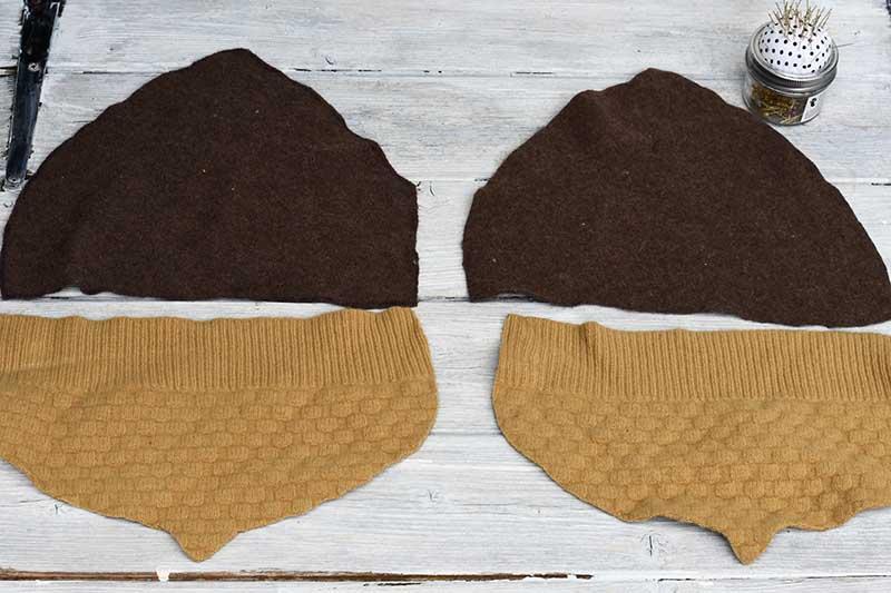 cut out DIY sweater pillow pieces