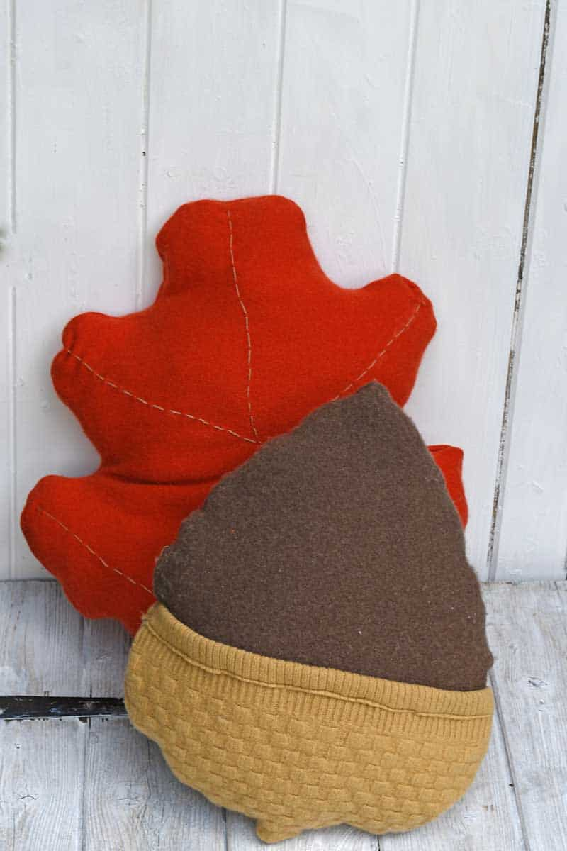 Acorn and oak leaf sweater pillows