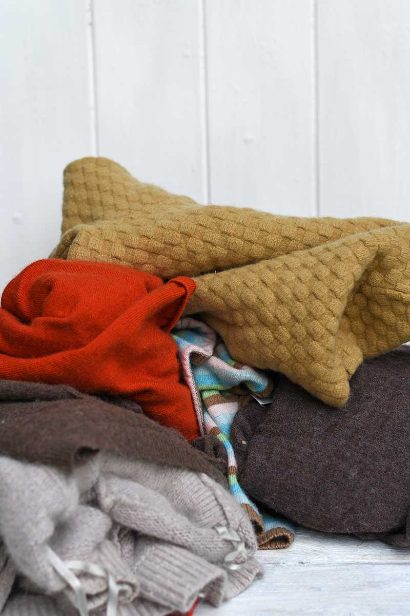 Fall coloured sweaters for a acorn and oak leaf pillow upcycle