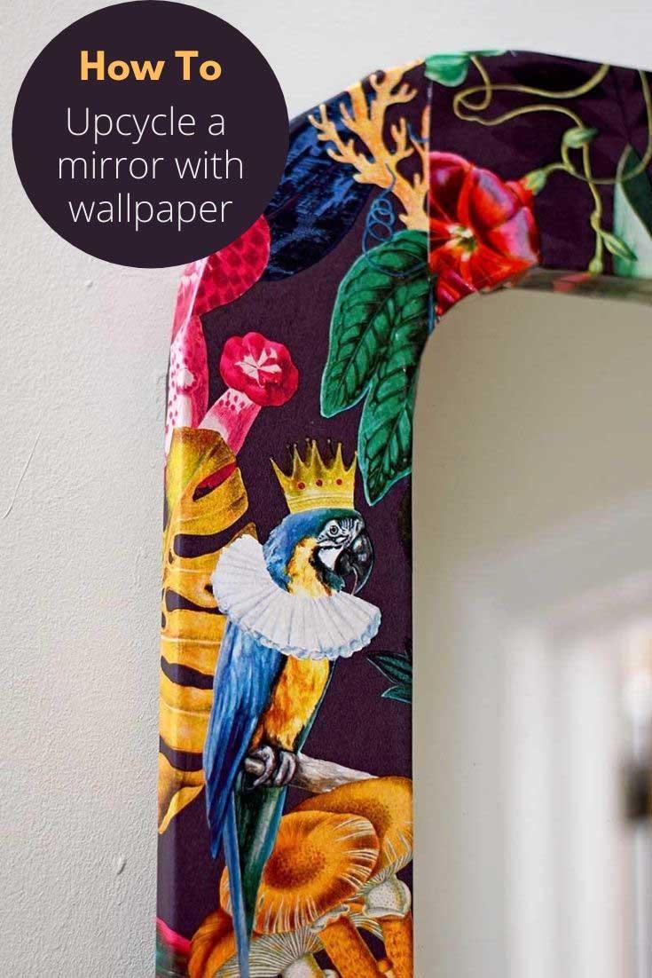 How To Wallpaper Furniture An Ikea Mirror Hack Pillar Box Blue
