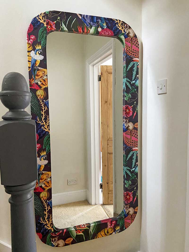 How to wallpaper furniture an IKEA mirror hack.