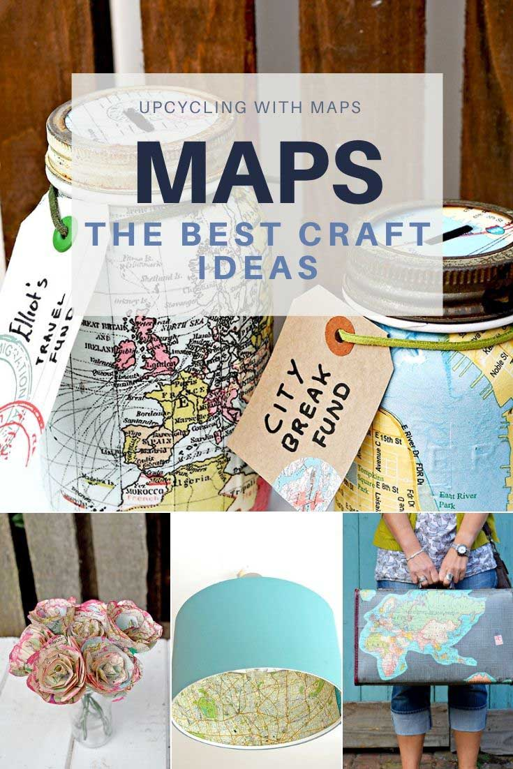 map upcycles crafts and DIY's