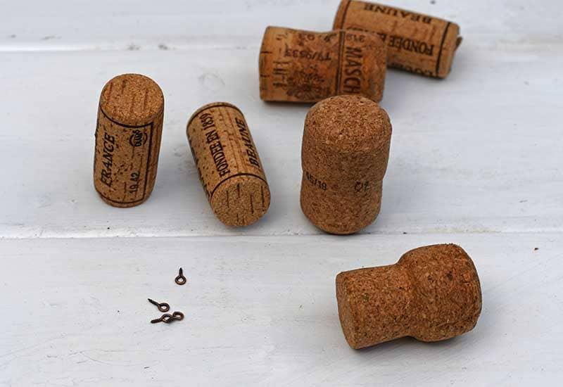 wine corks and eyelet screws