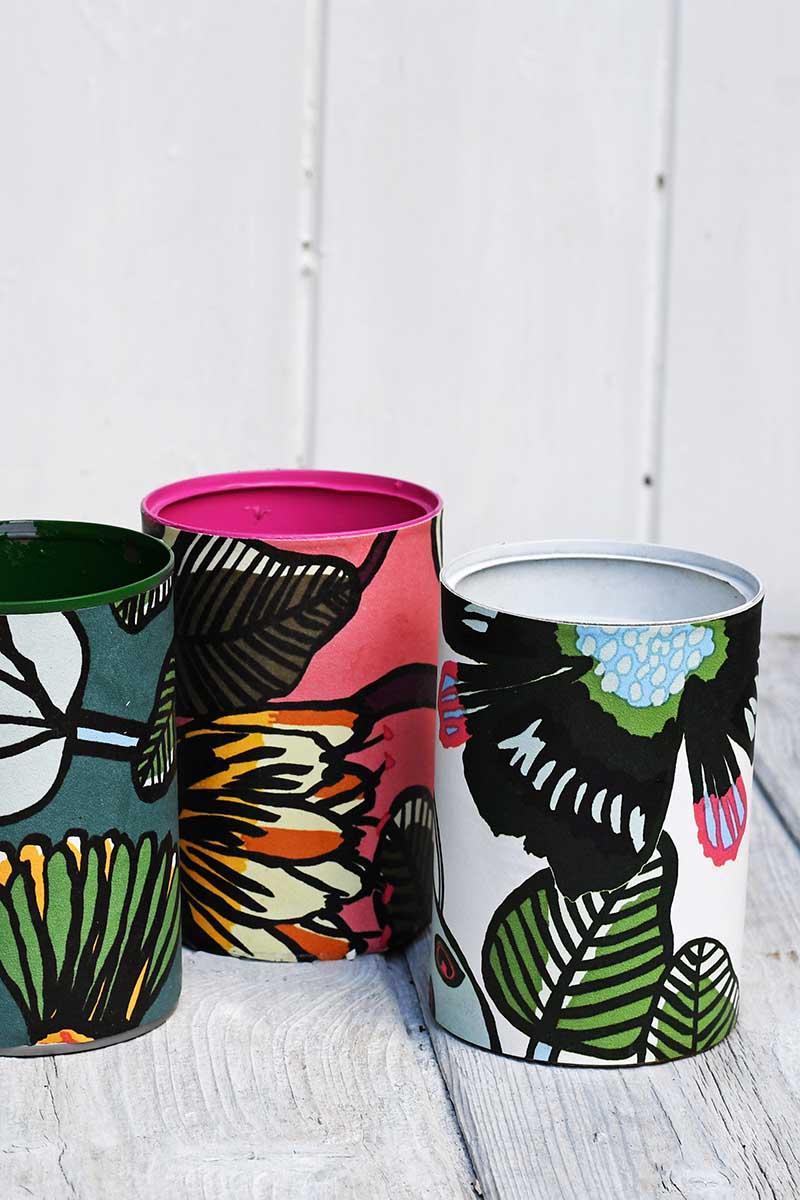 Crafting with wallpaper marimekko pen pots