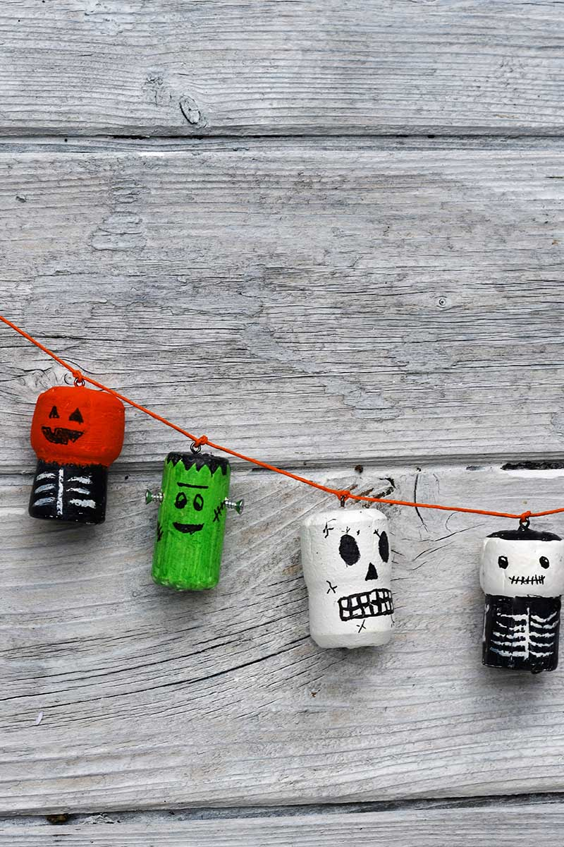 Garland of halloween wine cork crafts