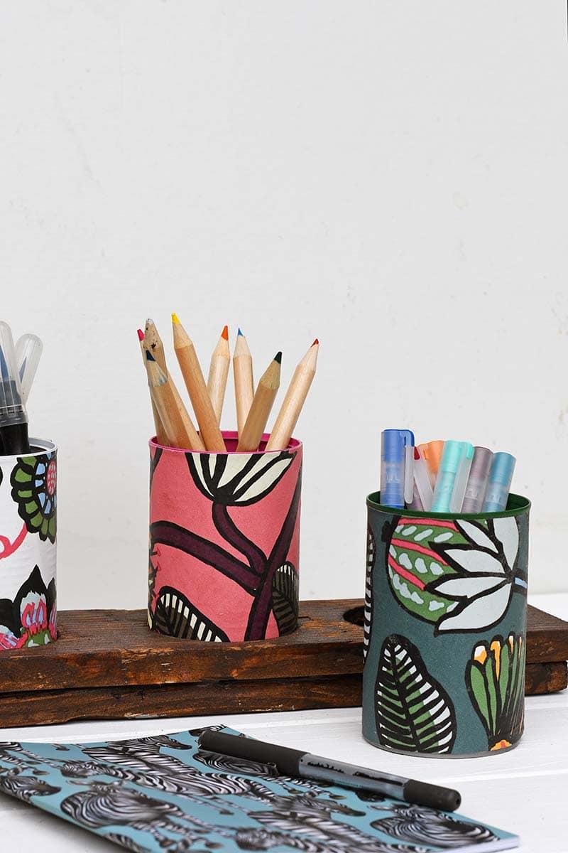 Crafting with wallpaper Marimekko desk caddy