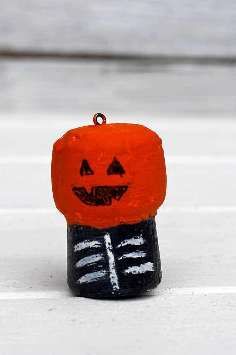 Pumpkin head champagne cork