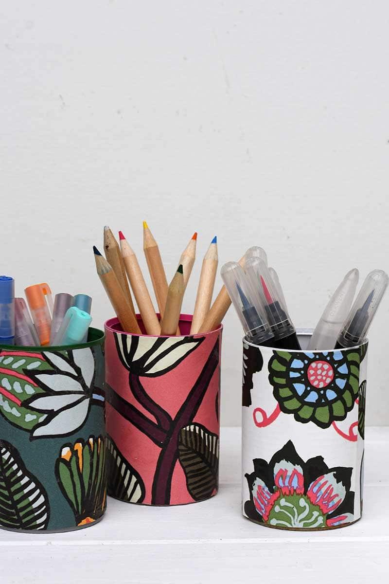Marimekko wallpapered pen pots