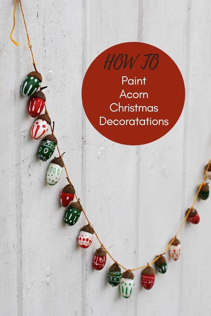 Painted acorn Christmas garlands