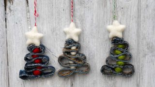 recycled denim Christmas decorations