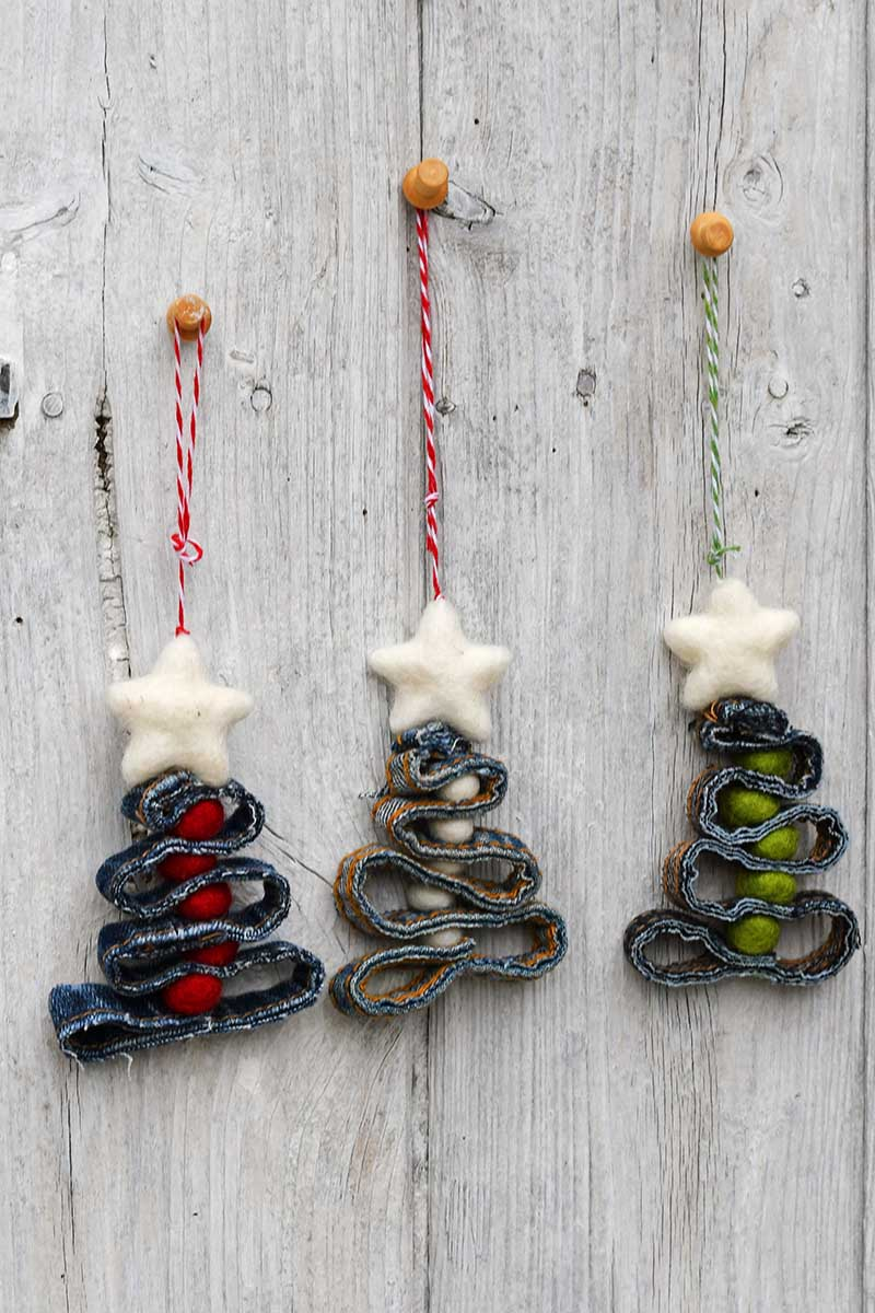 Three denim recycled Christmas decorations