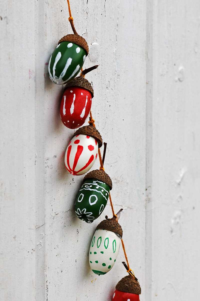painted acorn Christmas garland