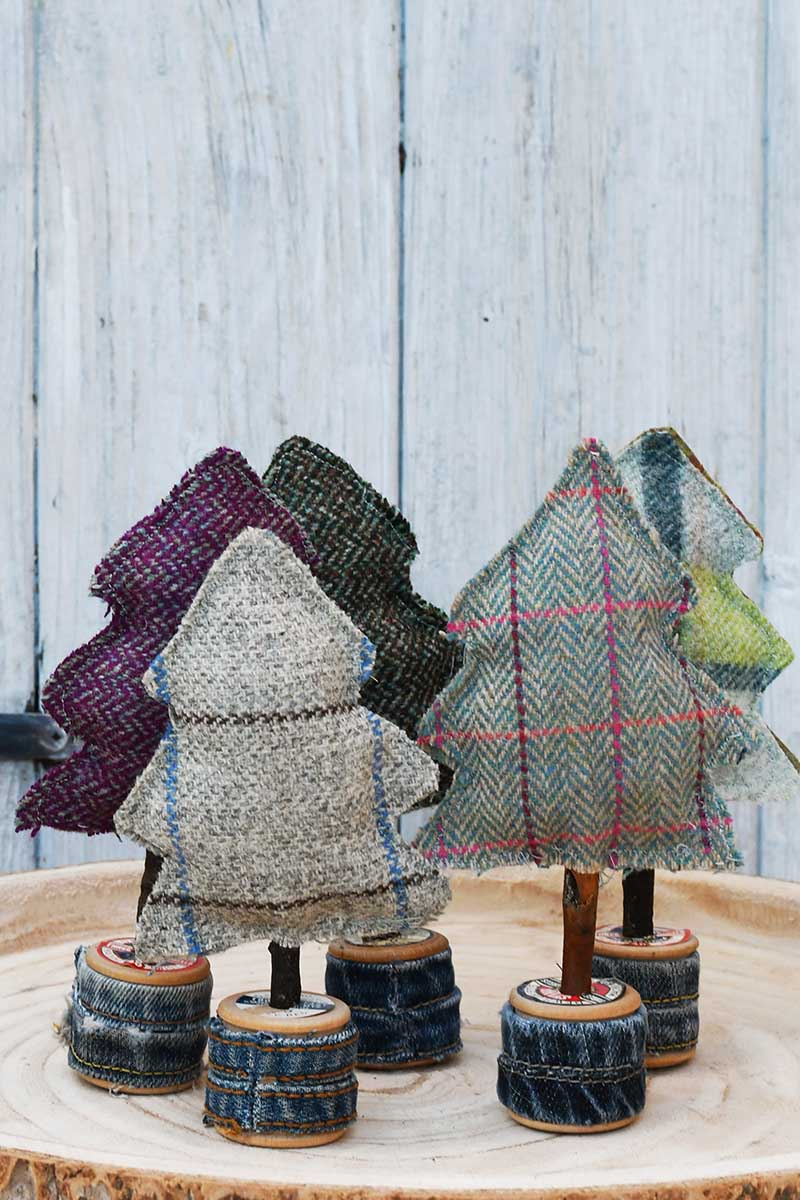 upcycled tweed and tartan trees