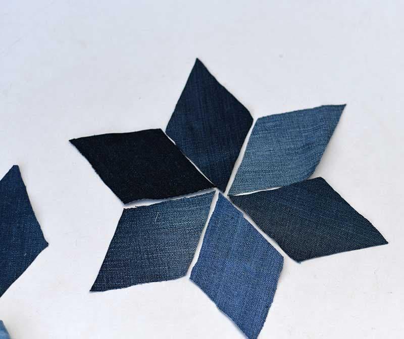 Making denim patchwork stars