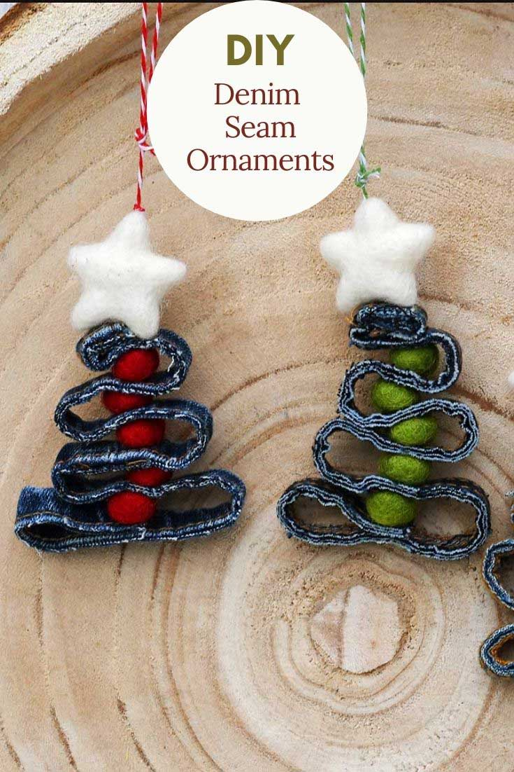 DIY denim seam ornaments