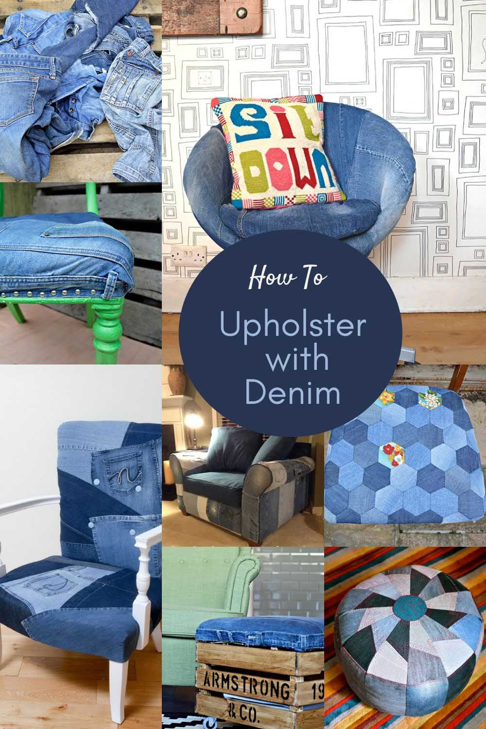 How to upholster furniture with denim ideas
